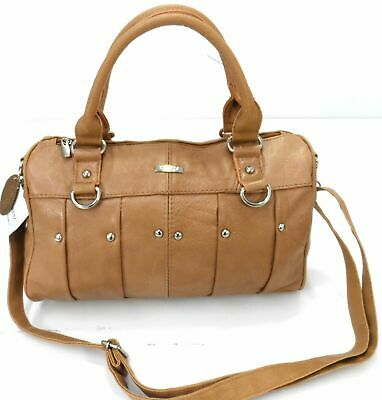 Ladies Women Lorenz Cowhide Real Leather Tote Barrel Shoulder Bag Handbag Tan UK • 16.99£