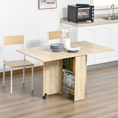 £64.99 • Buy 6 Person Dining Table Drop Leaf Style Folding Expandable W/ Wheels Wood Grain