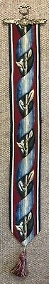 Acanthus Red/blue Lined Belgian Tapestry Bell Pull Wall Hanging + Brass Hanger • 45£