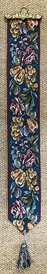 Fruit & Flowers Lined Belgian Tapestry Bell Pull Wall Hanging + Brass Hanger • 45£