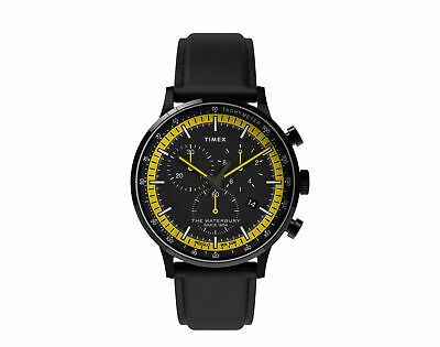 $138.95 • Buy Timex Waterbury Classic Chrono 40mm Leather Strap Blk/Yellow Watch TW2U04800VQ