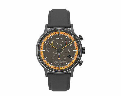 $138.95 • Buy Timex Waterbury Classic Chrono 40mm Leather Strap Gunmetal Watch TW2U04900VQ