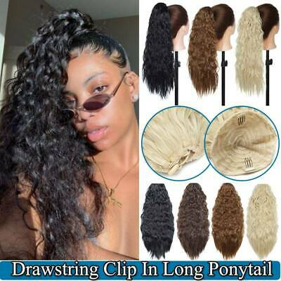 Afro Drawstring Ponytail Extensions Long Corn Wave Clip In Thick Hair Extensions • 8.81£