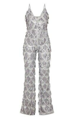 Pretty Little Thing Silver Sequin Tassle Plunge Jumpsuit 14 • 20£