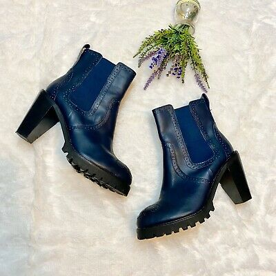 $ CDN50.83 • Buy Kelsi Dagger Navy Blue Leather Platform Boots Size 8.5 Mid Calf Perforated