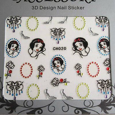 Princesses Roses Mirrors 3D Nail Art Stickers Decals Transfers • 1.39£