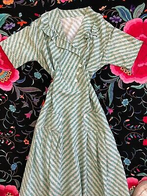 Vintage 1920s 30s Floral Print Cotton Feedsack Dress Dropwaist Mother Of Pearl • 139.51£
