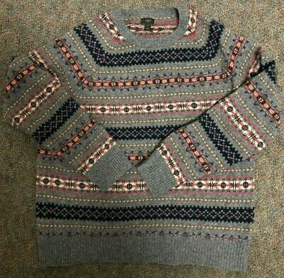 $21 • Buy J Crew XL Mens Wool Sweater Gray & Multicolor Free Shipping