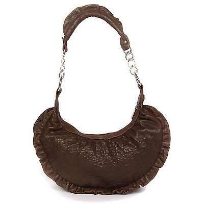 $39 • Buy TREESJE Half Moon Pebbled Leather Brown Ruffle Trim Silver Chain Handbag Purse