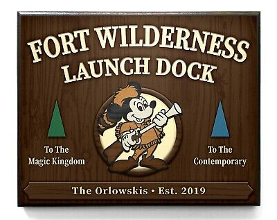 $49.95 • Buy Fort Wilderness Launch Dock Wood Sign Disney World Musket Mickey Reproduction
