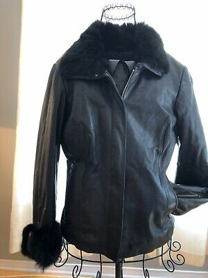 $ CDN64.50 • Buy Danier Leather Jacket And Danier Scarf Woman Size SMALL, Rabbit Collar And Cuffs
