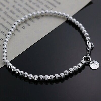 $4.49 • Buy Womens 925 Sterling Silver Love Cuff Bead Ball Open Bangle Charm Bracelet