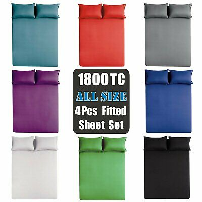 AU25.99 • Buy Soft 4Pieces Fitted Sheet Set 1800TC S/K Single/Double/Queen/King/Super King Bed