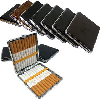 Kingsize Cigarette Tin Case PU Leather Holds Up To 20pcs Large Assorted Design • 4.99£