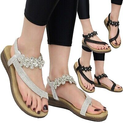 £12.95 • Buy Ladies Summer Ankle Strap Sandals Womens Diamante Wedge Flat Peep Toe Shoes Size