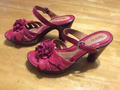 $34.99 • Buy BORN Red Leather Sandals SHOES Flower Comfort Slip On Heels Ladies Size 8 / 39