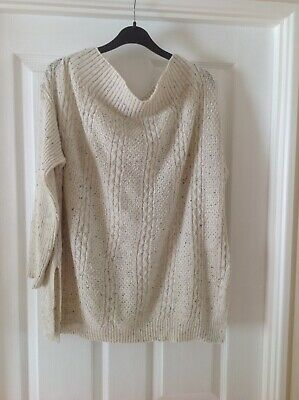 NEW Cream Fleck Off The Shoulder Jumper With Long Sleeves Size L By COSY CASUALS • 10£