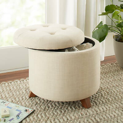 $118.06 • Buy Round Ottoman Storage Seat Coffee Table Living Bed Room Home Furniture Indoor