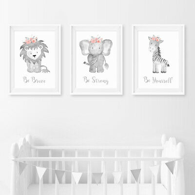 Pink Floral Animal Baby Nursery Prints Childrens Bedroom Wall Art Pictures Decor • 3.99£