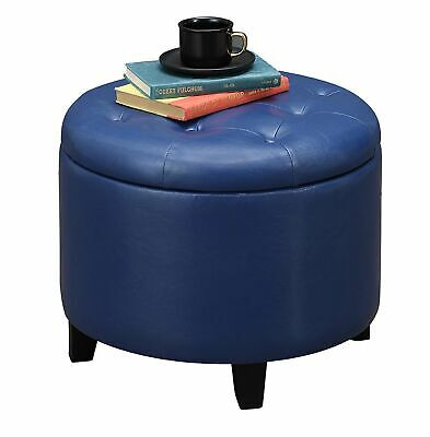 $110.02 • Buy Faux Leather Round Ottoman Storage Seat Home Living Room Cushion Furniture Blue