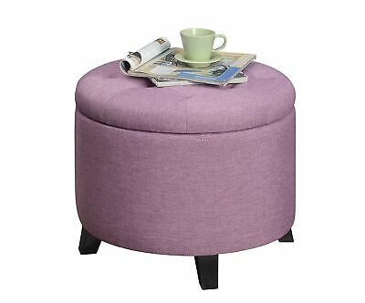 $119.40 • Buy Ottoman Storage Round Seat Lilac Organizer Furniture Home Indoor Living Room New