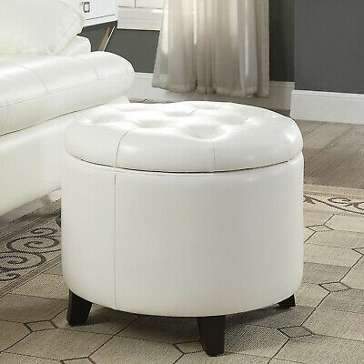 $106.25 • Buy White Round Ottoman Storage Living Room Seat Furniture Home Organizer Indoor New
