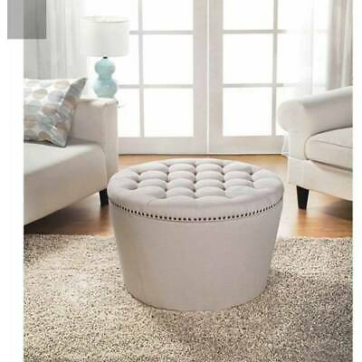 $177.71 • Buy Round Tufted Storage Ottoman W Nail Head Home Seat Furniture Organizer Modern