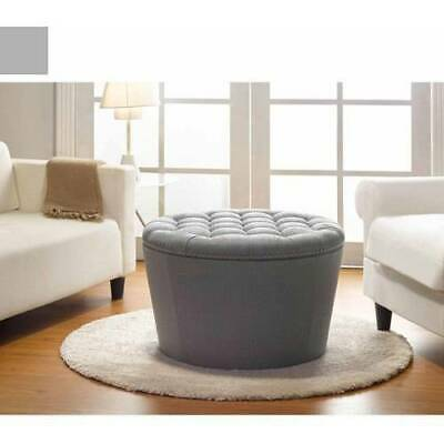 $177.71 • Buy Gray Round Storage Ottoman Tufted W Nail Head Seat Living Room Organizer Indoor