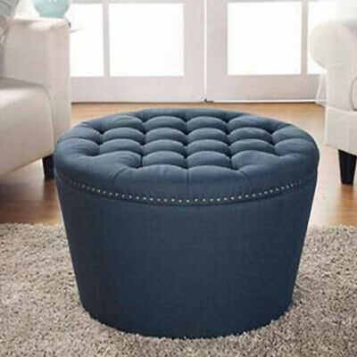 $177.71 • Buy Round Tufted Ottoman Built In Storage Seat Living Room Organizer Indoor Navy New