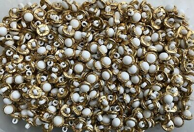 $1.38 • Buy Small 12mm 20L White & Gold Shank Dress Costume Craft Button Buttons (Y34)