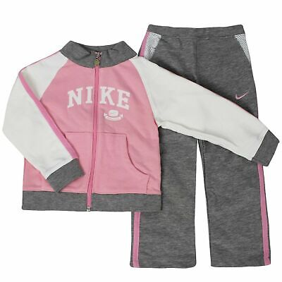 Nike Girls Youths Tracksuit Track Top Pants Joggers Logo Pink Grey 494349 106 • 11.99£