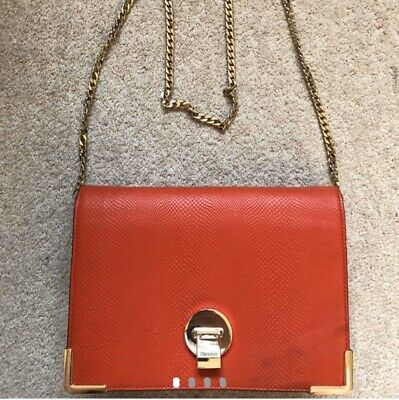 Dune Red Faux Leather Clutch Cross Body Bag Gold Coloured Chain Strap BNWT • 2.80£