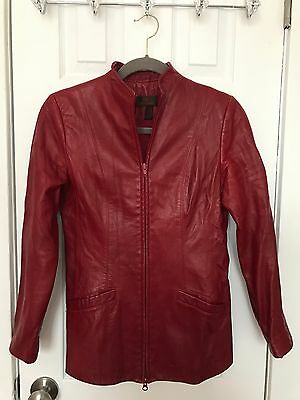 $ CDN25.36 • Buy Danier Red Burgandy Leather Zip Up Coat Jacket Sz S Small P