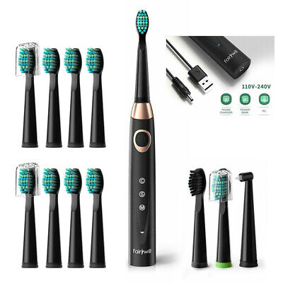 AU44.99 • Buy Fairywill Electric Toothbrush Sonic Usb Cable Charge 12 Brushes Teeth Cleaning