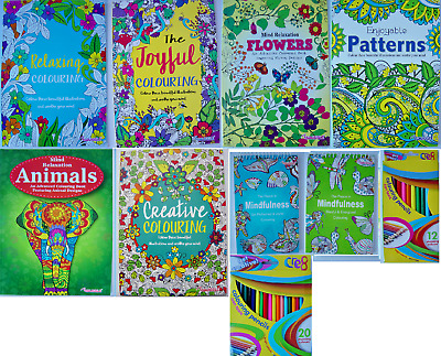 Adult Colouring Book Mind Relaxing Stress Relief Therapy, 14 Books / Pencils • 1.70£