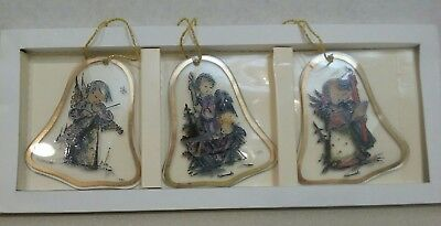$25 • Buy M.J. Hummel Bell Shaped Handcrafted Glass Ornaments Set Of 3 Made In Germany ARS