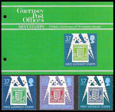 GUERNSEY 1991 50th ANNIVERSARY OF OCCUPATION STAMPS SET OF 3 Presentation Pack • 2.99£