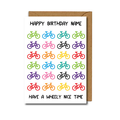 £2.75 • Buy *PERSONALISED* Cyclist BIKES Bicycles BIRTHDAY CARD Cycling WHEELY