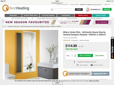 Milano Aruba Vertical Oval Tube Radiator Anthracite 1600mmx236mm, New, Boxed • 55£