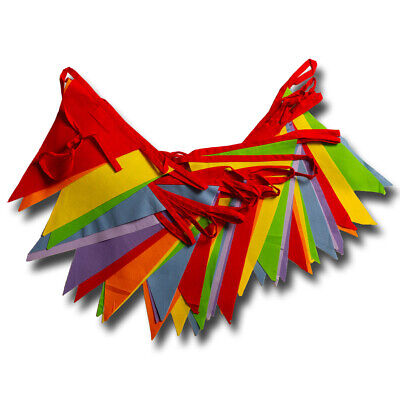 £7.50 • Buy Rainbow Bunting Bright Multicoloured 6 M Or 12 M Banner Decoration Cotton Fabric