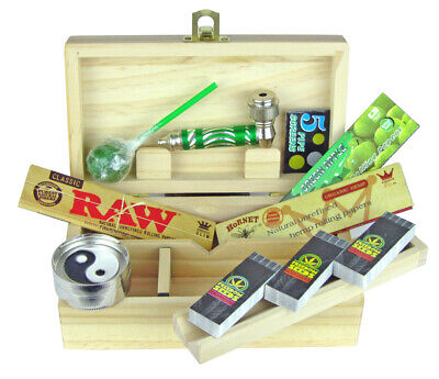 Wooden Rolling Box Smoking Rolling Set Hornet RAW Papers Tips Lolly Grinder Pipe • 16.49£