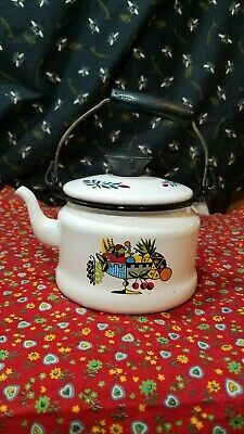 $12.99 • Buy Vintage Small Enamel Tea Pot W/Wooden Handle Swiss