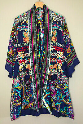 $169 • Buy NEW Johnny Was Hanna Floral Embroiderd Silk Kimono Jacket S M