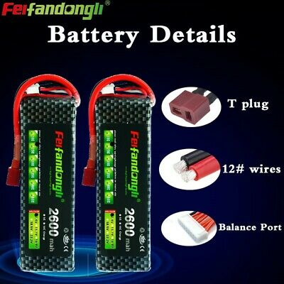 $ CDN44.81 • Buy 2pcs 7.4V 2S 2600mAh 25C LiPO Battery T Plug Burst 50C RC Lipolymer Power Pack