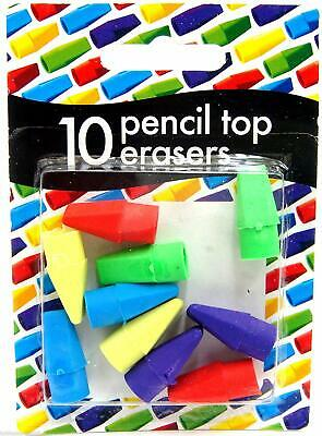 Pencil Top Erasers Rubbers Caps Tips Triangular Assorted Colours - Pack Of 10 • 2.15£