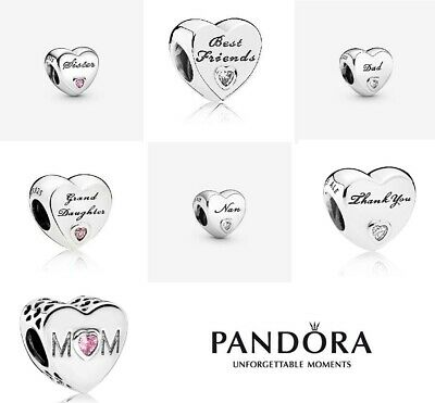 New Genuine Pandora Silver Sister Dad Best Friends Nan Heart S925 Ale Charms Uk • 14.49£