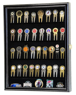 Golf Ball Divot Tool Markers Coin Chips Pin Magnets Display Case Cabinet Holder • 43.41£