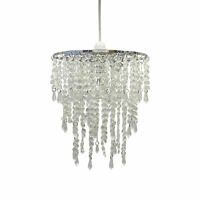Modern Clear Jewel Easy Fit Ceiling Light Pendant Shade Chandelier Girls Bedroom • 12.99£
