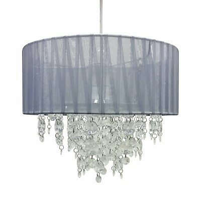 Grey Jewelled Easy Fit Ceiling Light Shade Pendant 30cm Drum Lightshade • 19.99£