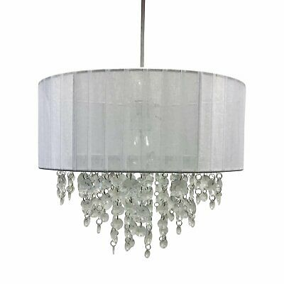 White Jewelled Easy Fit Ceiling Light Shade Pendant 30cm Drum Lightshade • 19.99£